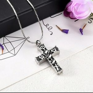 Jewelry - Binding flowers and cross cremation urn necklace.